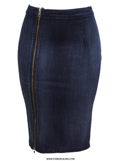Parkers Stretch Denim Zipper Skirt