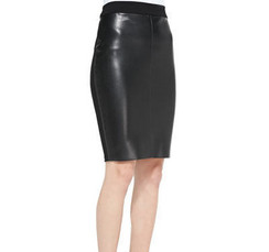 Black Faux Leather & Knit Pencil Skirt