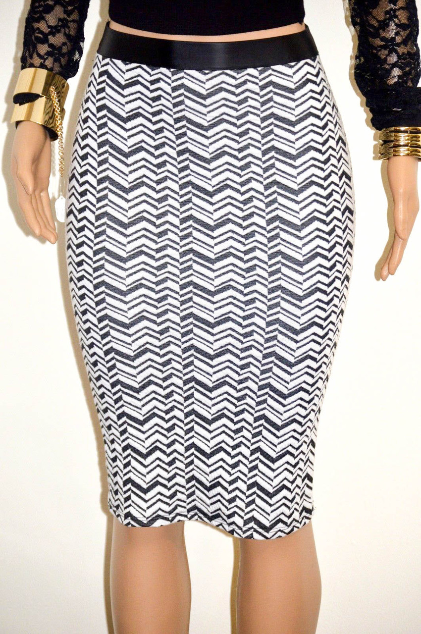 black white faux leather trimmed pencil skirt bz fashions