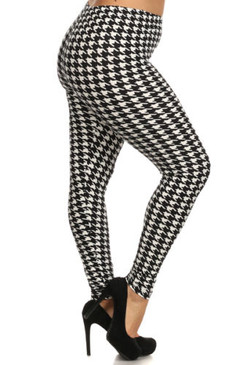 Black & White Houndstooth Print High Waist Leggings- One Size Plus Size