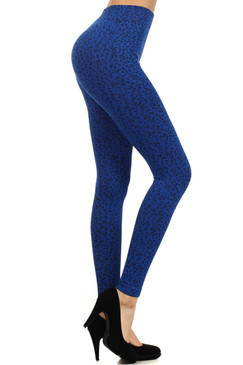 Blue Cheetah Print Ribbed Knit Waistband Leggings