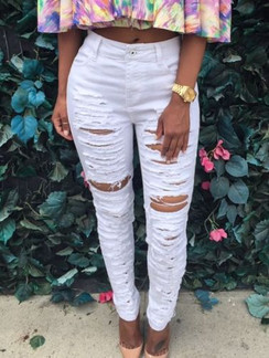 Cute Trendy White Destroyed Stretch Jeans
