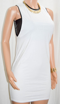 Trendy Dropped Armhole White Cotton With Faux Leather Trimming Shirt Dress