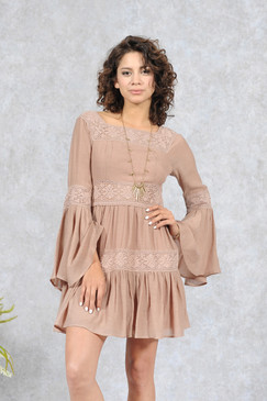 Taupe Boho Dress With Crochet Detail
