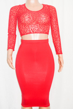 Red Midi Skirt & Lace Crop Top Set
