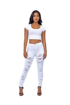 Gorgeous White Parkers High-Waist Destroyed Skinny Jeans Size- 1 to 17