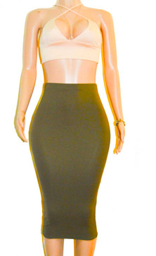 Green Ponte Knit Pencil Skirt
