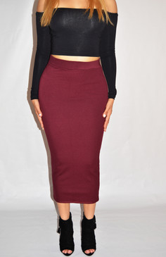 Burgundy Ponte Pencil Midi Skirt