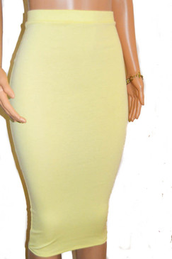 Lemon Sorbet Extra Long Midi Pencil Skirt