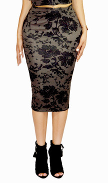 Black & Tan Lace Print Midi Pencil Skirt