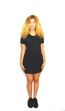 Black Cotton Jersey T-Shirt Dress