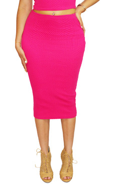 Hot Pink Midi Pencil Skirt