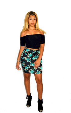 Black Floral Skirt paired with American Apparel Black Off shoulder Top