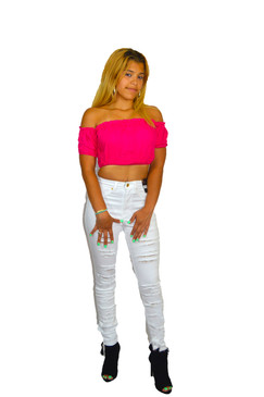 Cute Hot Pink Off Shoulder  Crop Top