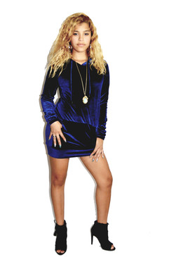 Navy Blue Velvet Hoodie Dress