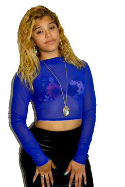 Blue High Neck Mesh Crop Top