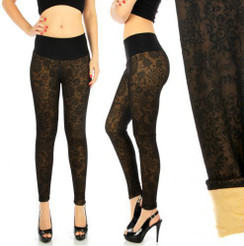 Black & Tan Fur lined High waist leggings- S/M