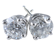 1.10 Carat Round Diamond Stud Earrings Set in 14k White Gold