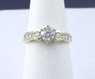 3/4 Carat Round & Baguette Diamond Ring, in 14k Yellow Gold