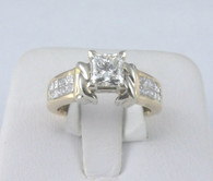 1 1/6 Carat Princess Cut Diamond Engagement Ring, in 14k Yellow with White Gold Accents