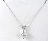 1 Carat Princess Cut Diamond Solitaire Pendant Necklace, in 14k White Gold