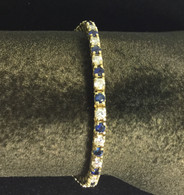 2 1/2 Carat Sapphire & Diamond Tennis Bracelet, in 14 Karat Yellow Gold