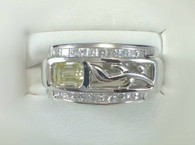 Natural Fancy Yellow Diamond Platinum Fashion Ring