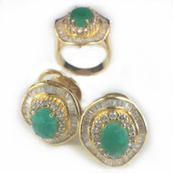 Emerald and Diamond Ring and Earrings Set