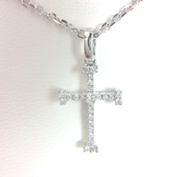 Diamond Cross Pendant, in 18kt White Gold