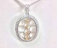Floating Diamond Pave Pendant, in 18kt White Gold