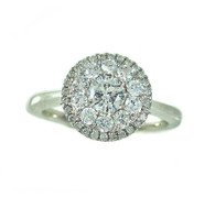 Composite Set Pave Diamond Halo Ring, in 14k White Gold