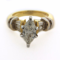 Two Tone 18kt Gold Marquise Diamond Ring