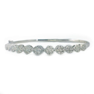 Diamond Flower Cluster Bangle Bracelet