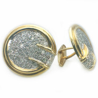 4 1/4 Carat Bullet Back Pave Diamond Cufflinks, in 14 Karat Yellow & White Gold