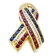 Diamond, Ruby, & Sapphire Patriotic Pin, in 14 Karat Yellow Gold