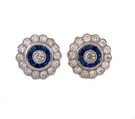 Diamond & Sapphire Flower Earrings, in 18K White Gold