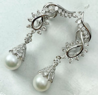 1.50 Carat Diamond Climber and Pearl Drop Earrings, in 14k White Gold