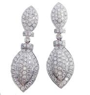 2.50 Carat Pave Diamond Drop Earrings, in 14k White Gold