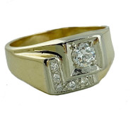 1/2 Carat Round Diamond Ring, in 14k Yellow Gold with White Gold Accent
