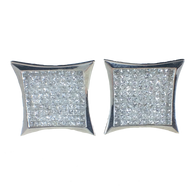 3 1/2 Carat Square Shaped Diamond Earrings