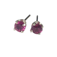3/4 Carat Round Ruby Stud Earrings, in 14k White Gold