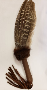 "16 ""Pheasant Wing Feather & Leather Dance Fan"