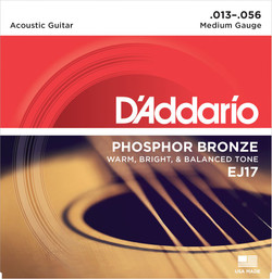 D'addario EJ17 Phosphor Bronze Medium Gauge Acoustic Guitar Strings