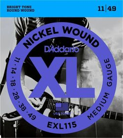 D'Addario EXL115 11-49 Medium Gauge Electric Guitar Strings