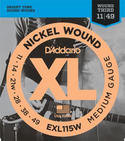 D'Addario EXL115W 11-49 Medium Gauge Wound 3rd Electric Guitar Strings