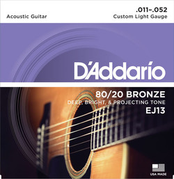 D'Addario EJ13 80/20 Bronze Custom Light Gauge Acoustic Guitar Strings
