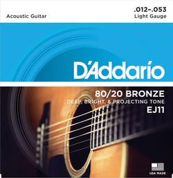 D'Addario EJ11 80/20 Bronze Light Gauge Acoustic Guitar Strings