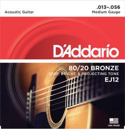 D'Addario EJ12 80/20 Bronze Medium Gauge Acoustic Guitar Strings