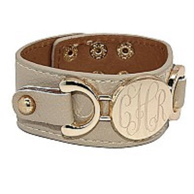 beige leather bracelet with engravable disc.