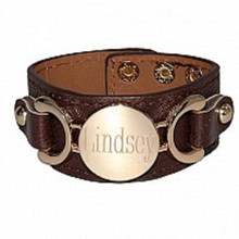 Brown leather engravable bracelet